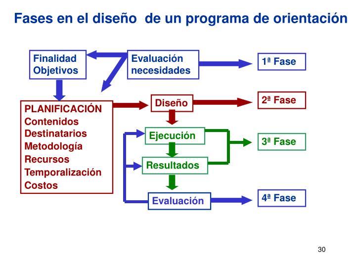 Fases en el diseño  de un programa de orientación