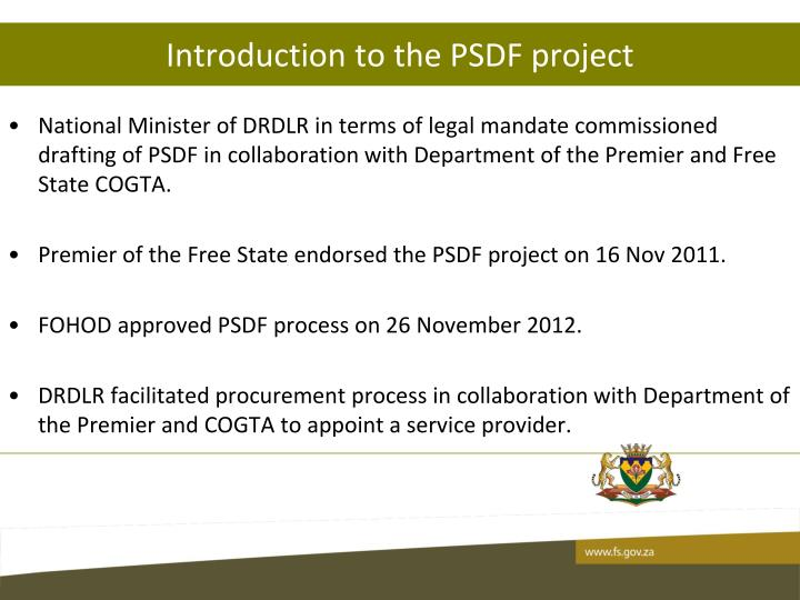 Introduction to the PSDF project