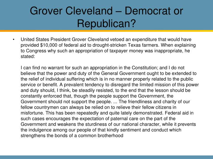 Grover Cleveland – Democrat or Republican?