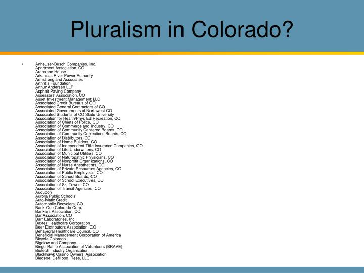 Pluralism in Colorado?