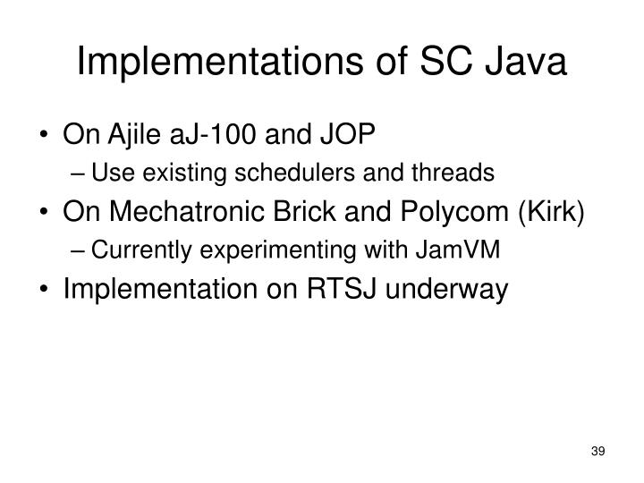 Implementations of SC Java