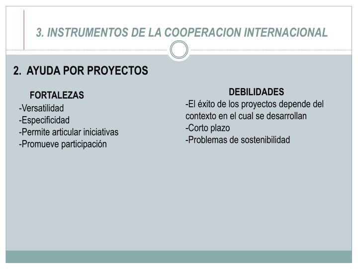 3. INSTRUMENTOS DE LA COOPERACION INTERNACIONAL