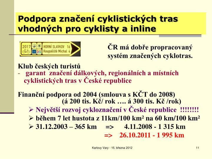 Podpora značení cyklistických tras vhodných pro cyklisty a