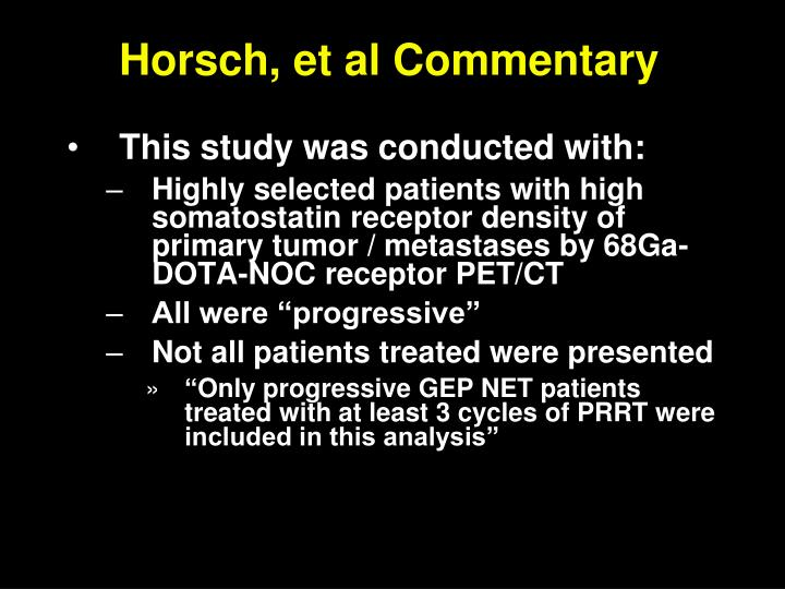 Horsch, et al Commentary