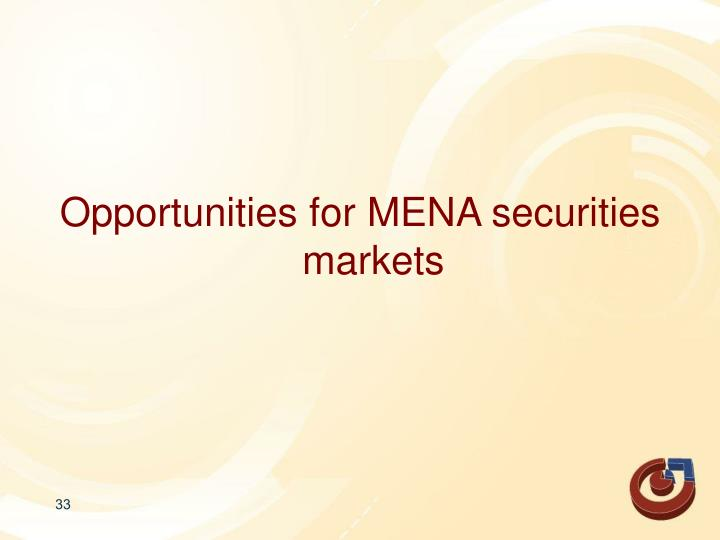 Opportunities for MENA securities markets