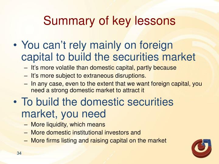 Summary of key lessons