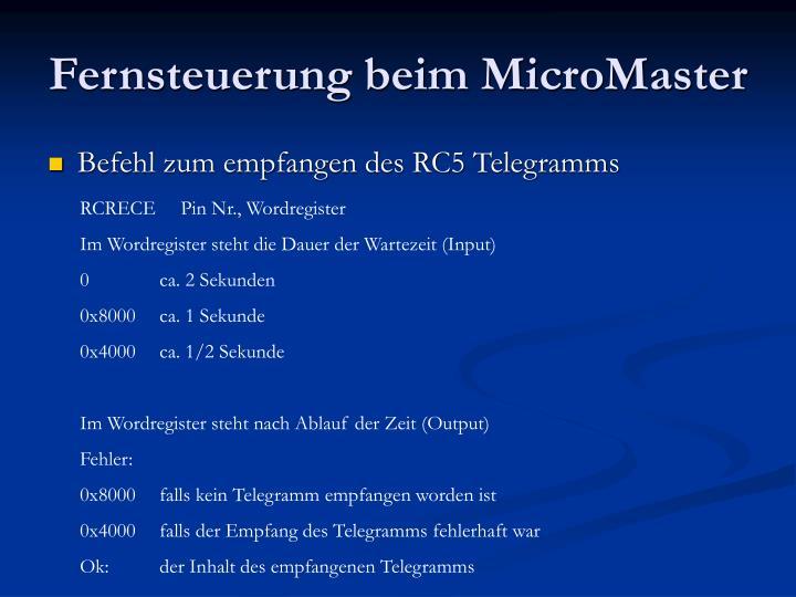 Fernsteuerung beim MicroMaster