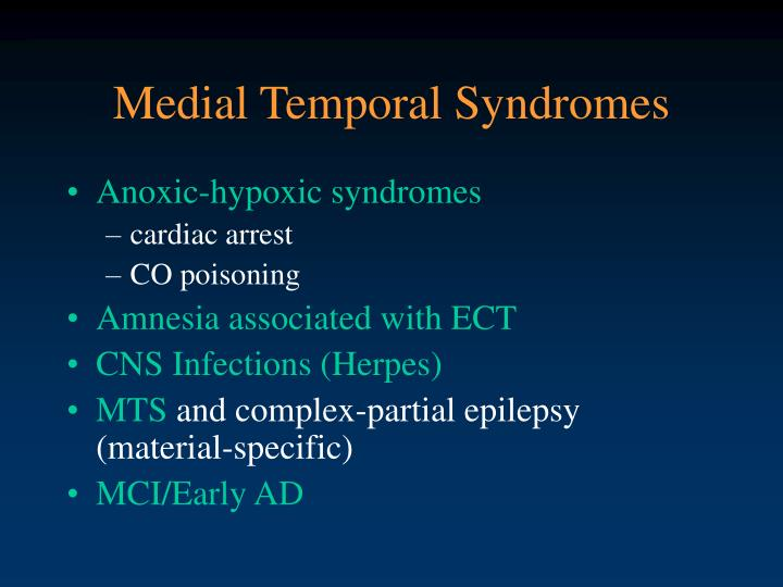 Medial Temporal Syndromes
