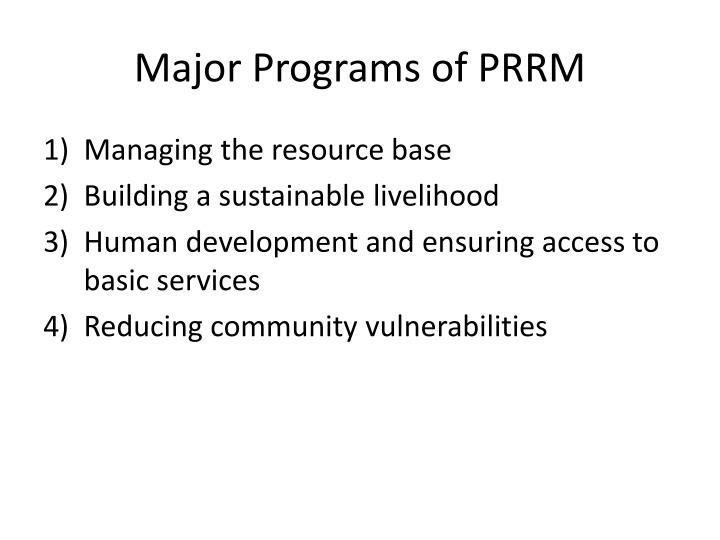 Major Programs of PRRM