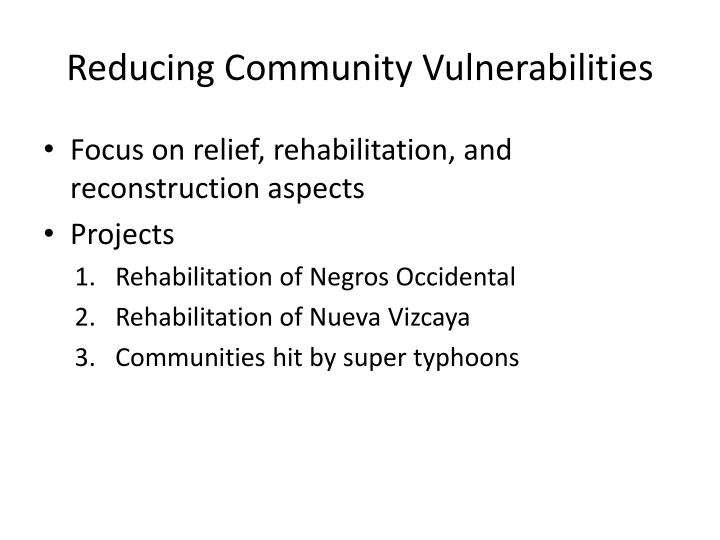 Reducing Community Vulnerabilities