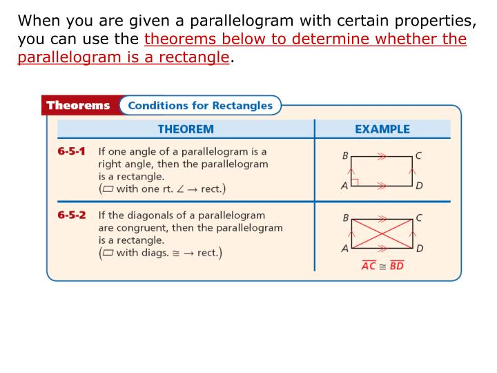 When you are given a parallelogram with certain properties, you can use the