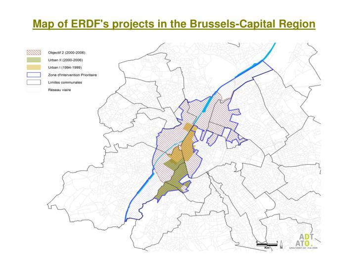 Map of ERDF's projects in the Brussels-Capital Region