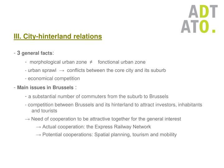 III. City-hinterland relations