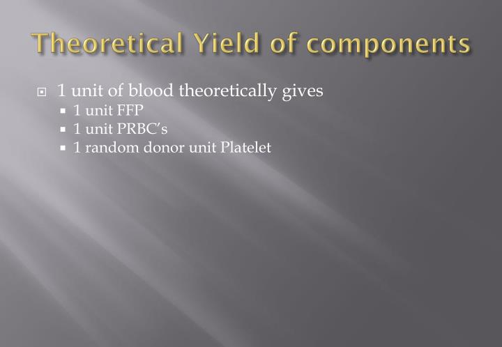 Theoretical Yield of components