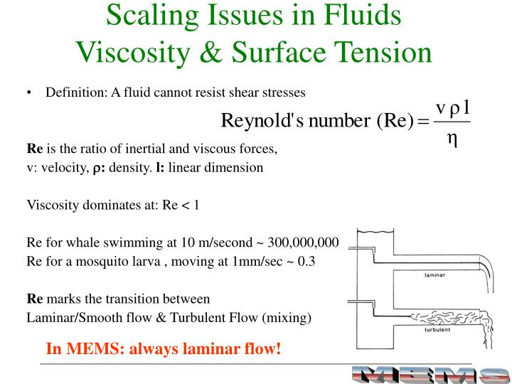 Scaling Issues in Fluids                           Viscosity & Surface Tension