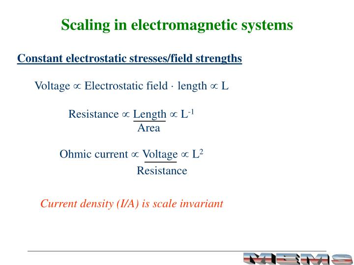 Scaling in electromagnetic systems