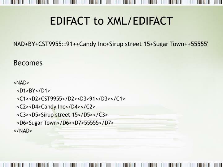 EDIFACT to XML/EDIFACT