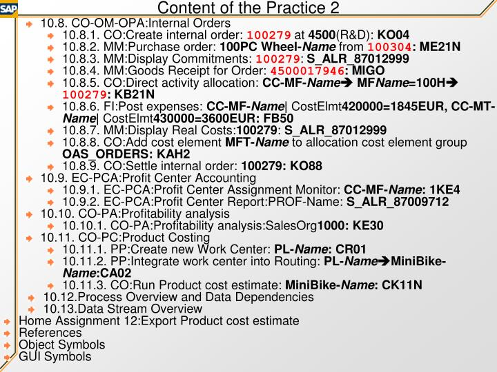 Content of the Practice 2