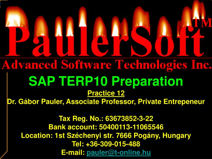 SAP TERP10 Preparation