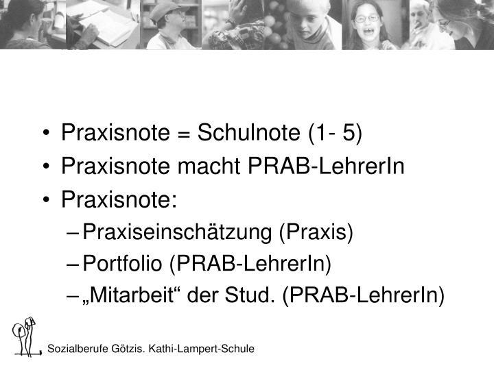 Praxisnote = Schulnote (1- 5)