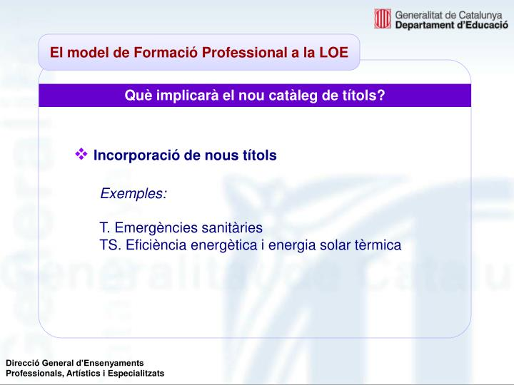 El model de Formació Professional a la LOE