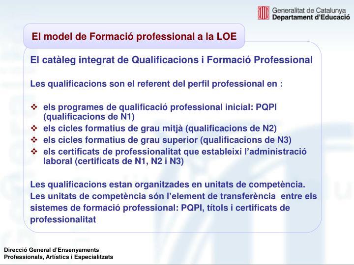 El catàleg integrat de Qualificacions i Formació Professional
