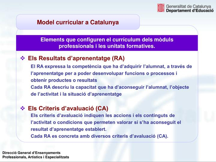 Model curricular a Catalunya
