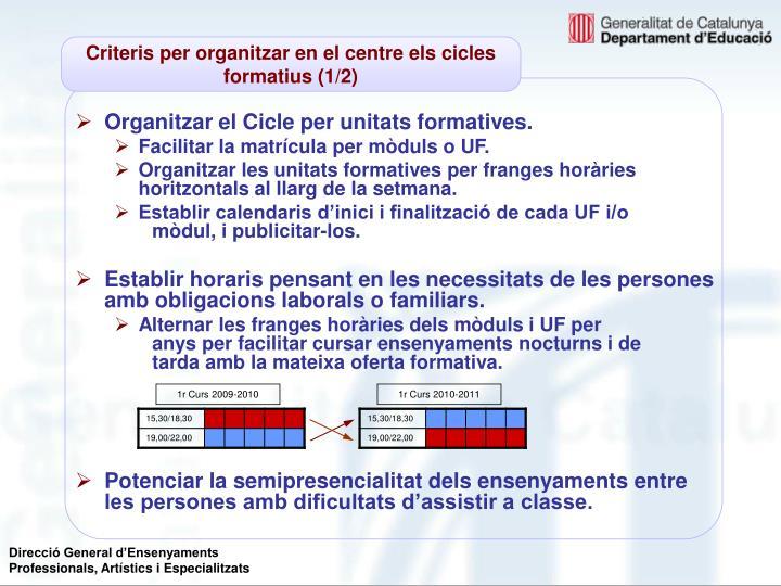 Criteris per organitzar en el centre els cicles formatius (1/2)