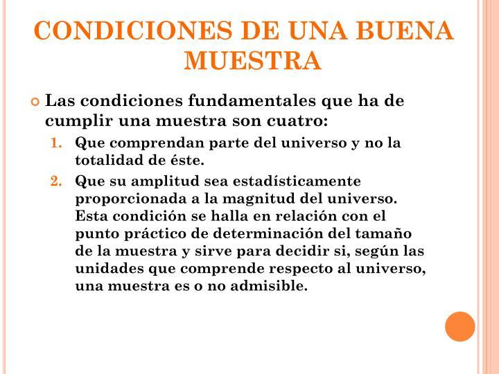 CONDICIONES DE UNA BUENA MUESTRA