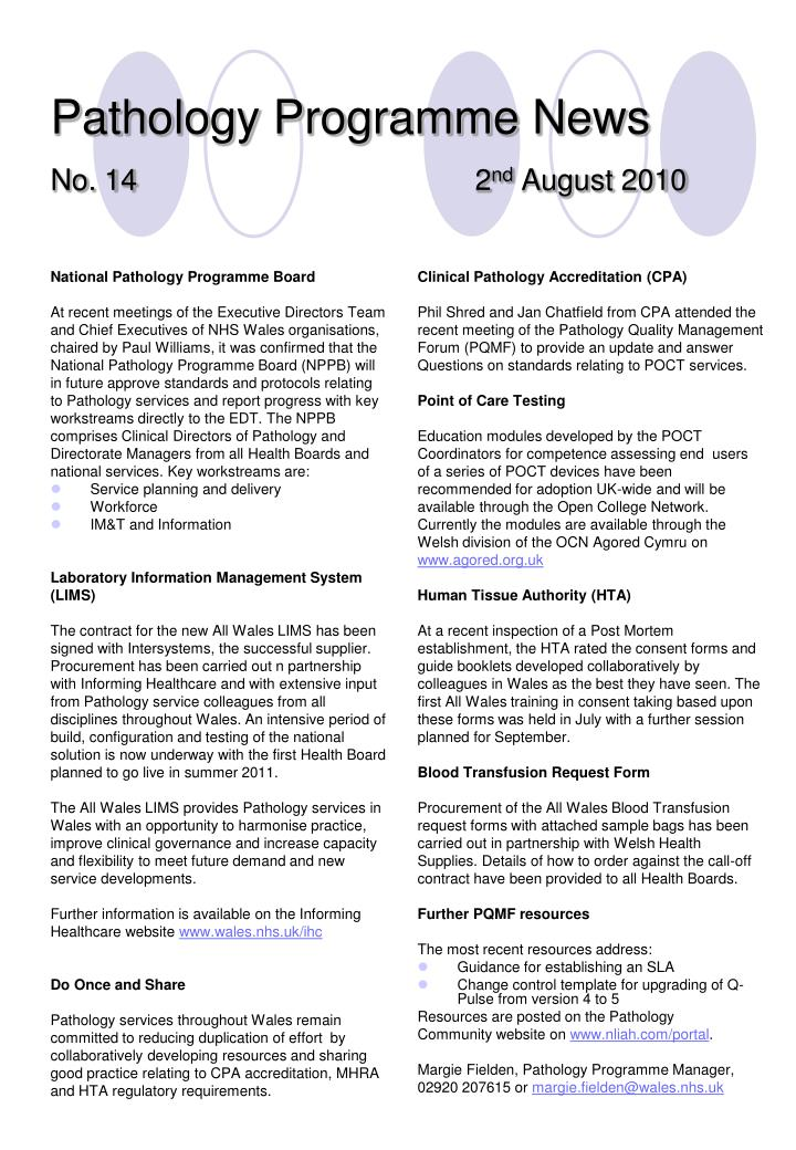 Pathology programme news no 14 2 nd august 2010