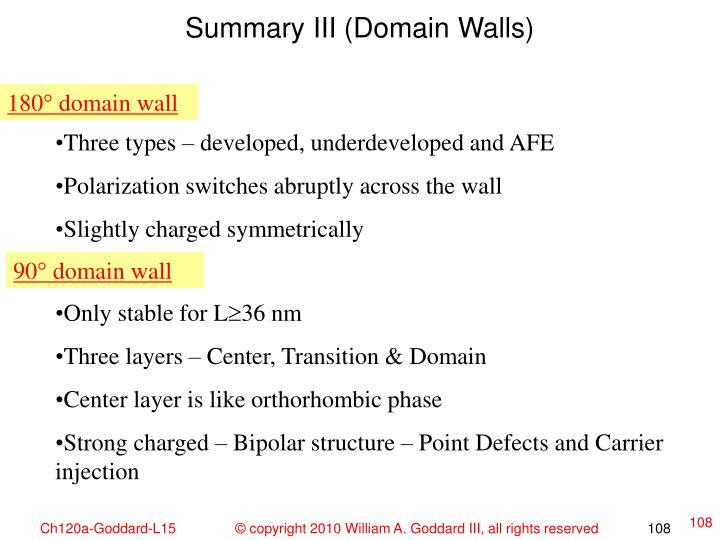 Summary III (Domain Walls)