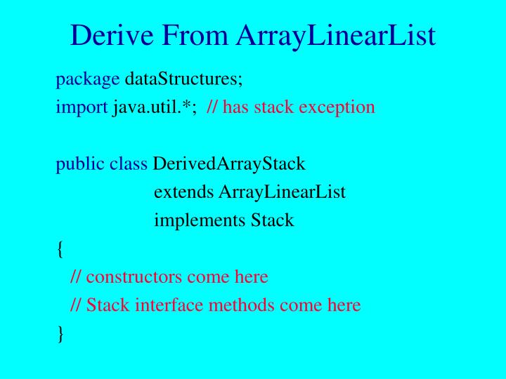 Derive From ArrayLinearList