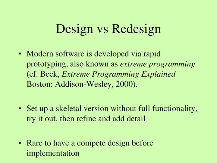 Design vs Redesign
