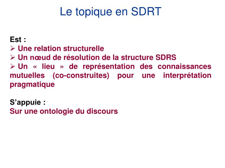 Le topique en SDRT