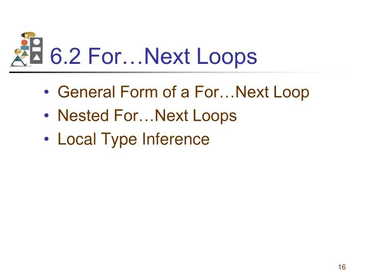 6.2 For…Next Loops