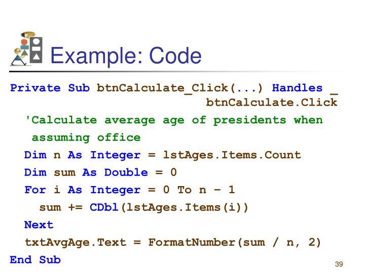 Example: Code