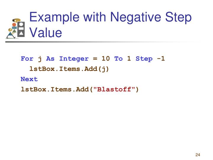 Example with Negative Step Value