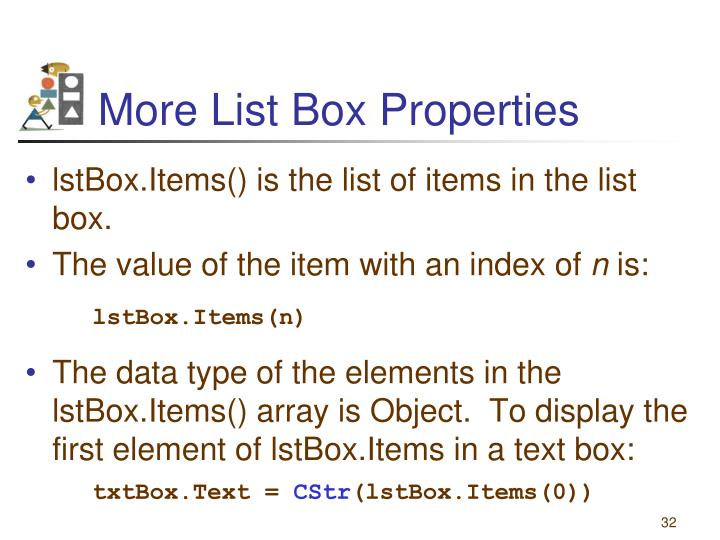 More List Box Properties