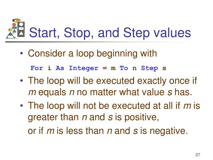 Start, Stop, and Step values