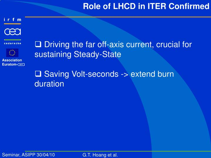 Role of LHCD in ITER Confirmed