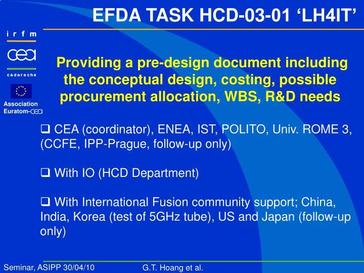 EFDA TASK HCD-03-01 'LH4IT'