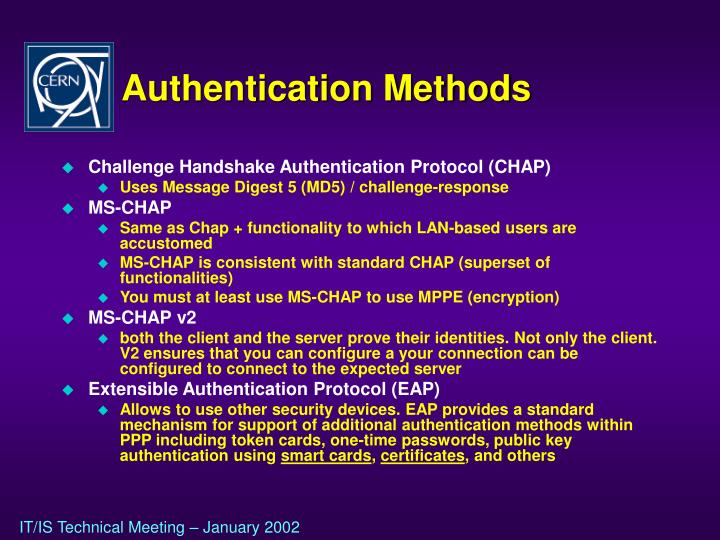 Authentication Methods