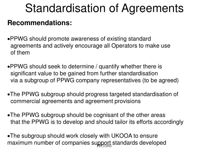 Standardisation of agreements2