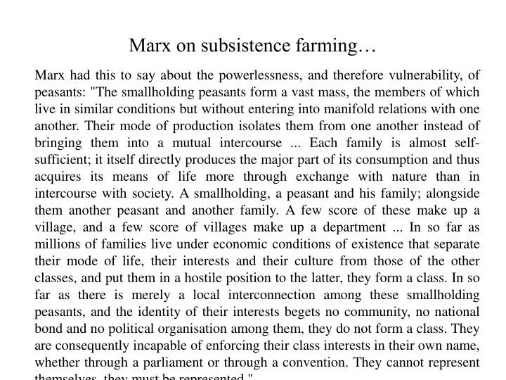 Marx on subsistence farming…