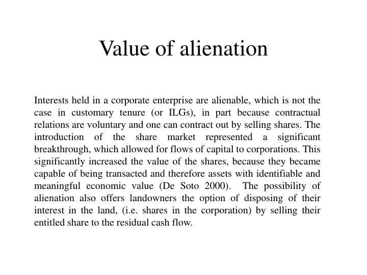 Value of alienation