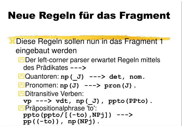 Neue Regeln für das Fragment