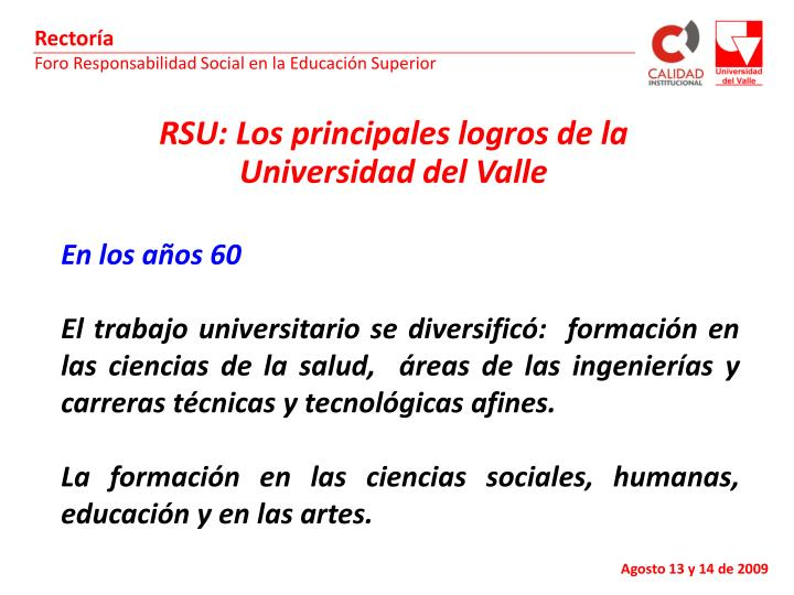 RSU: Los principales logros de la Universidad del Valle