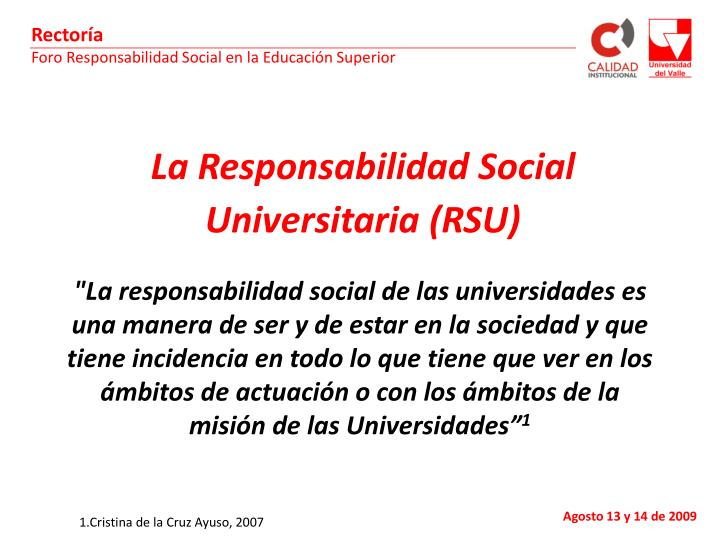 La Responsabilidad Social Universitaria (RSU)
