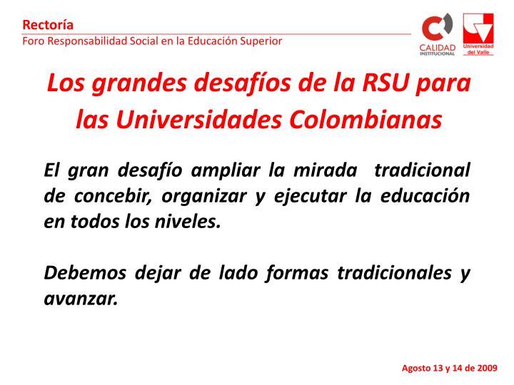 Los grandes desafíos de la RSU para las Universidades Colombianas