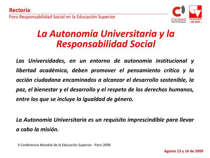 La Autonomía Universitaria y la Responsabilidad Social
